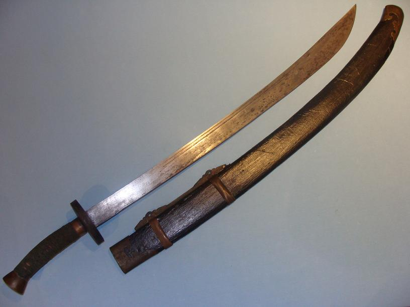 Fine Chinese Oxtail Sabre Pattern welded blade www.swordsantiqueweapons.com