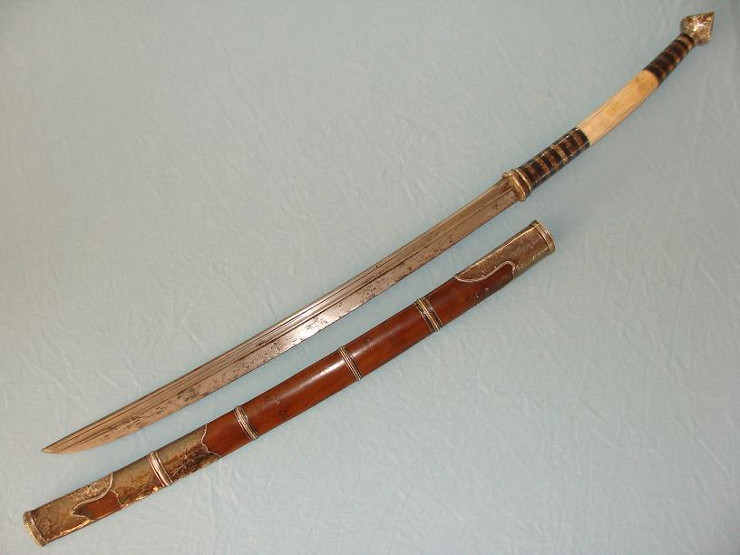 Silver, Niello and Ivory handled Dha www.swordsantiqueweapons.com