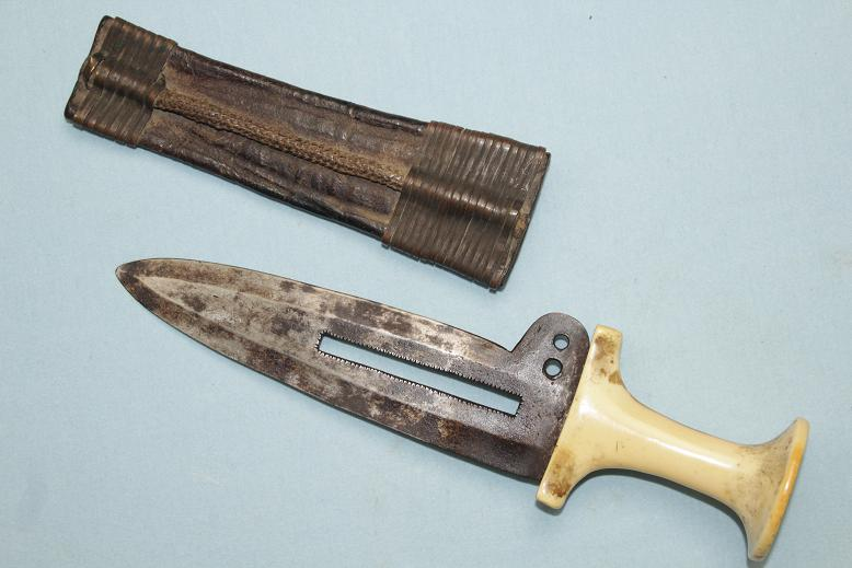 Mangbetu Dagger Congo African A fine and early example a rare type with sheath www.swordsantiqueweapons.com