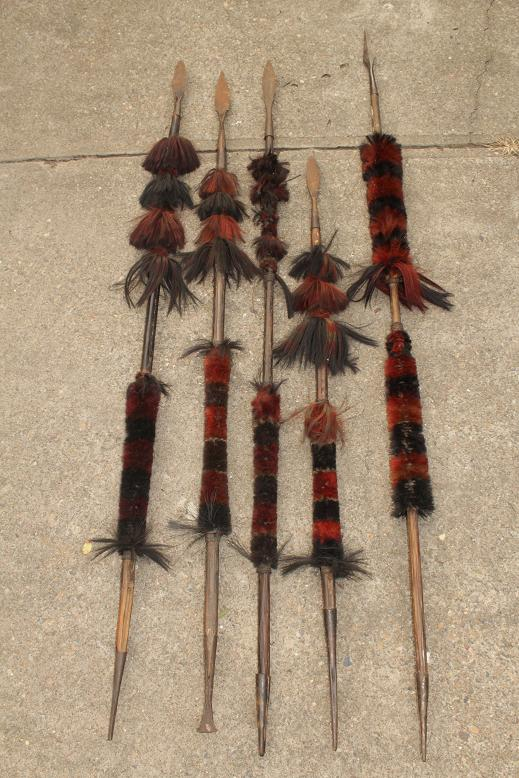 A collection of fine Naga spears Naga land Assam Burma www.swordsantiqueweapons.com