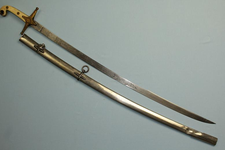 A good 1831 pattern Mamluke style Officers sabre ivory grips long raised Yelman www.swordsantiqueweapons.com