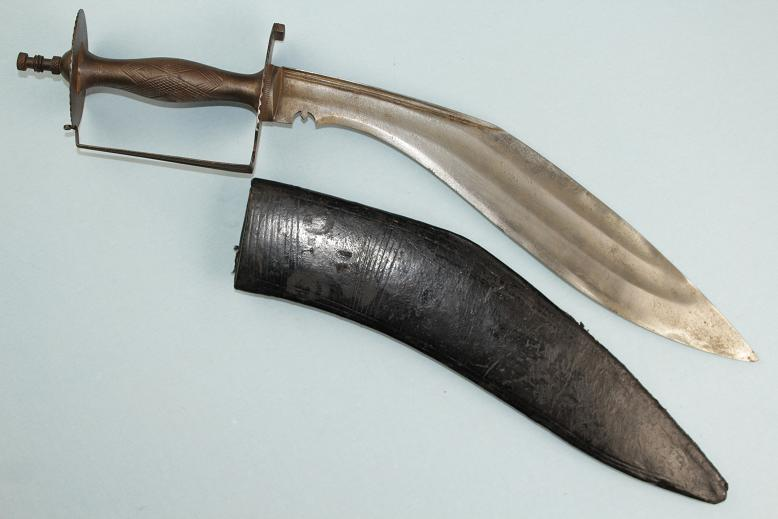 A fine & rare Kukri Nepalese fighter with rare guard varient Stupa pommel Chirra blade www.swordsantiqueweapons.com