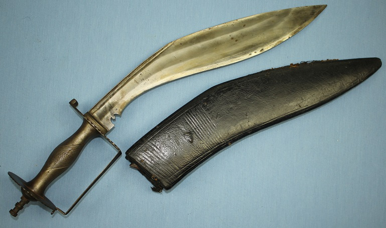 A very rare Kukri type large heavy example very rare form Kora hilted with guard www.swordsantiqueweapons.com
