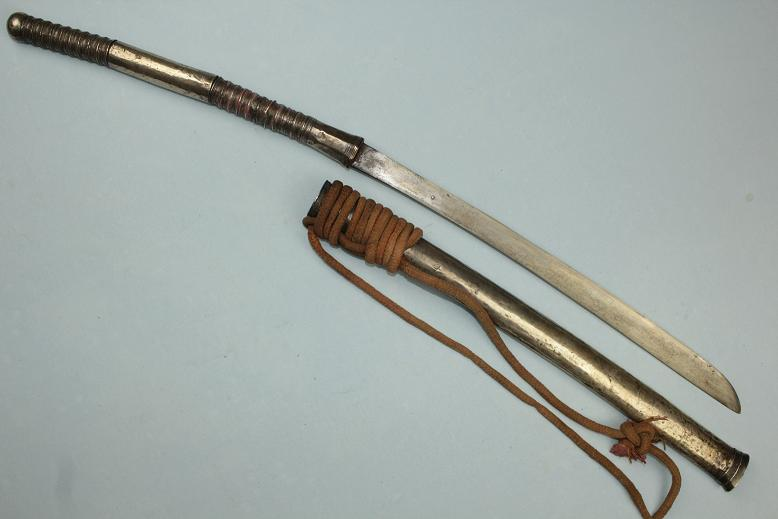 Thai Dhaab Military sword Thailand All silver dress Complete with baldric www.swordsantiqueweapons.com