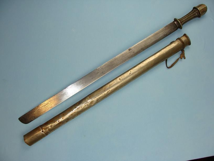 Bhutan long sword and scabbard Beautiful hairpin laminated blade www.swordsantiqueweapons.com