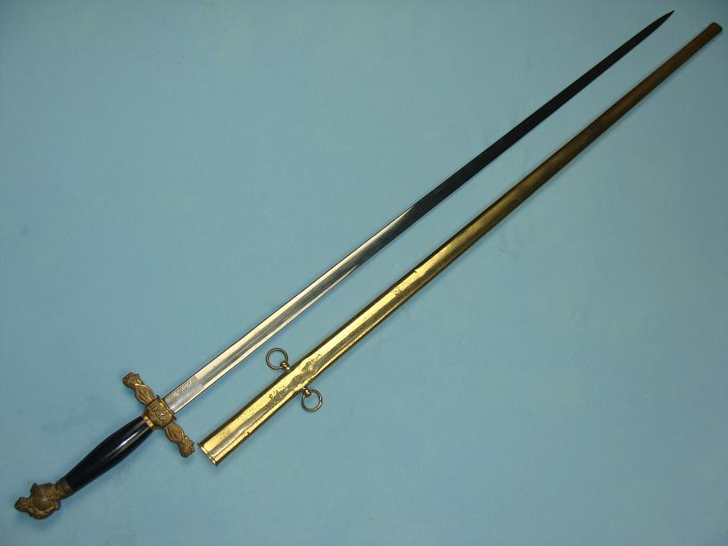 Rare Masonic lodge sword named 32nd degree sword www.swordsantiqueweapons.com