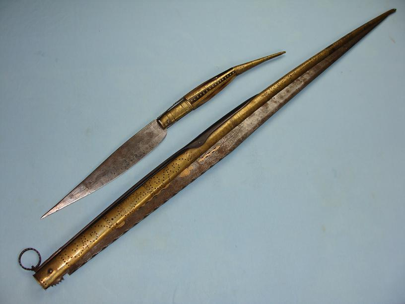Navaja Madrid 1895 Massive brass bound example pierced and engraved blade 2 metres open www.swordsantiqueweapons.com