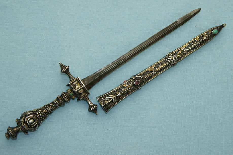 French Gothic dagger Stunning gilded silver & stone set example early 19th century www.swordsantiqueweapons.com