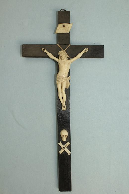 French? Ivory crucifix Fine example ebonised cross www.swordsantiqueweapons.com