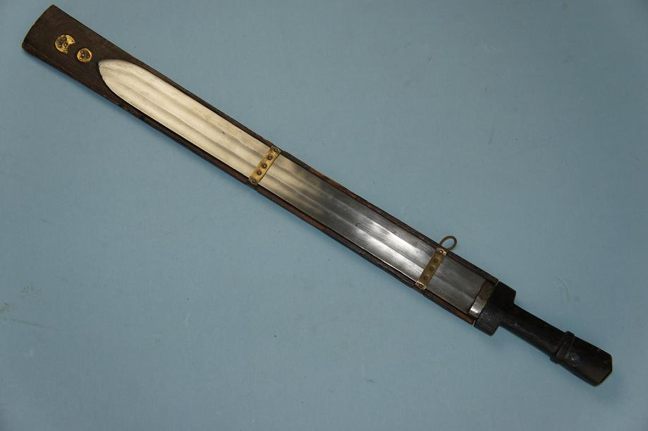 Sikkim sword Fine fullered type with scabbard Ban sword of the Lepcha people www.swordsantiqueweapons.com
